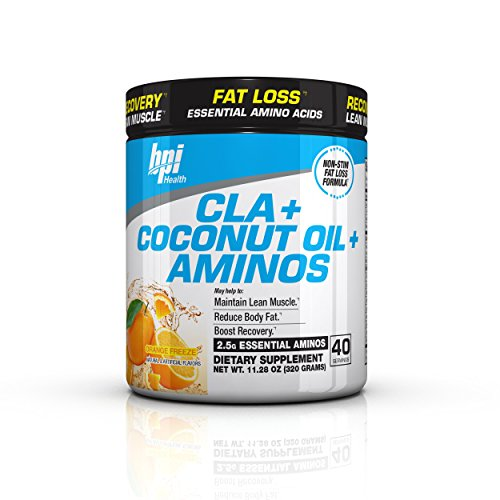 Bpi Health CLA + Coconut Oil + Aminos, Non Stimulant Fat Loss Supplement Powder, Boost Weight Loss, Maintain Lean Muscle, Orange Freeze, 40 Servings, 9.8 Ounce by BPI Sports