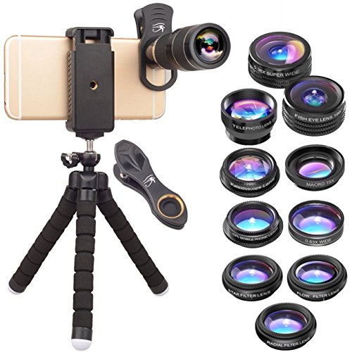 RETINA 12 in 1 IPhone 20x Zoom Telephoto Lens - The Best Just Got Better - Super Wide Angle - Lightweight Tripod -Fish Eye- Wide Angle - for IPhone X, 8, 8 Plus, 7, 7 Plus, 6s, 6, 5s & Most Smartphone