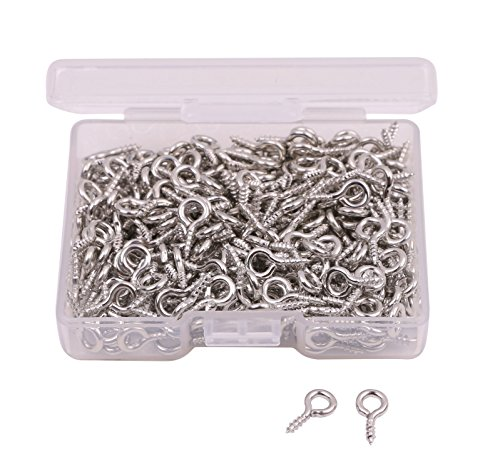 Shapenty 300PCS Mini Metal Hoop Peg Screw Eye Pin Hook for Arts & Crafts Projects, Cork Top Bottles, DIY Jewelry Making Findings, Charm Bead, 10 x 4.5mm (Silver)