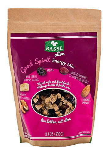 Good Spirit Energy Trail Mix from Basse Alive, 8.8oz Bag Mixed Nuts, Fruit & Craisins, Trail Mix with Cranberries, Raisins, Apples, Walnuts, Almonds - Fresh Nuts for Healthy Snacks or Healthy (Roasted Nut Roll)