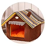 ZZmeet 4 Colors Striped Pet House Dog Removable Puppy Cat House Anti-Slippery Dog Kennel Resistant to Bite,Brown,XL - 55x50x55cm