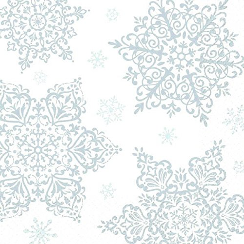 Shining Season 2 Ply Lunch Napkins Party Accessory, 125 (Snowflake Paper Napkins)