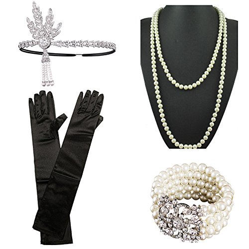 1920s Gatsby Flapper Costume Accessories Feather Headband Earrings Pearl Necklace Gloves Cigarette Holder for (Great Gatsby Costume Accessories)