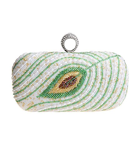 MissFox Women's Detachable Chain Clutch Evening Bag Bead Design Handbag Silver White