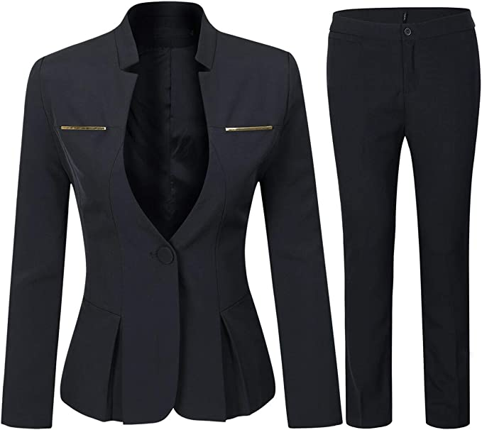 Yunclos Women S Elegant Business 2 Piece Office Lady Suit Set Work Blazer Pant Clothing