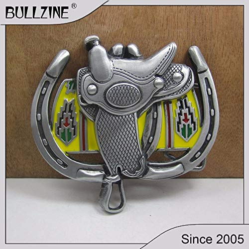 Buckes - The Horse Saddle Belt Buckle with Pewter Finish FP-02230-1 Suitable for 4cm Width on Belt