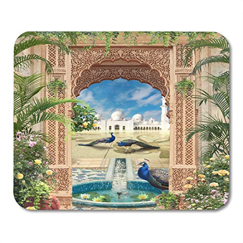 Emvency Mouse Pads Architecture Blue Dress Look at Greece Through The Arch Greek Asian Mouse Pad 9.5