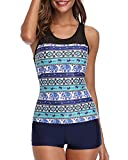 Yonique Racerback Tankini Set Mandala Printed Top with Boyshort Two Piece Swimsuits for Women