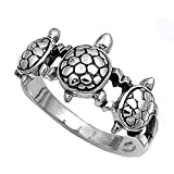 Sterling Silver Women's Turtle Ring Cute 925 New Fashion Band 11mm Size 10 (RNG12778-10)