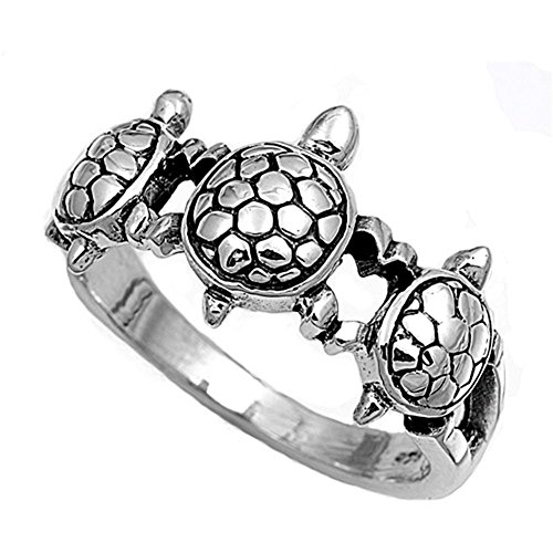 11mm Band Sterling Silver Ring (Sterling Silver Women's Turtle Ring Cute 925 New Fashion Band 11mm Size 9 (RNG12778-9))