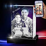 3D Cube Crystal with a Free LED Base That Illuminates The Crystal, Personalize with Your own Custom Engraving (Max Portrait)