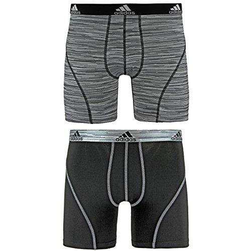 adidas Men's Sport Performance Climalite Boxer Brief Underwear (2 Pack), Grey Looper Print/Black, Large