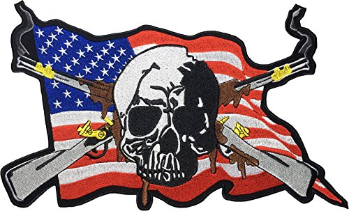 [Large Size] Papapatch Skull with US America USA Flag Smoking Cross Rifle Guns Biker Rider Motorcycle Jacket Vest Costume Embroidered Sew on Iron on Patch (IRON-RIFLE-CROSS-LARGE)