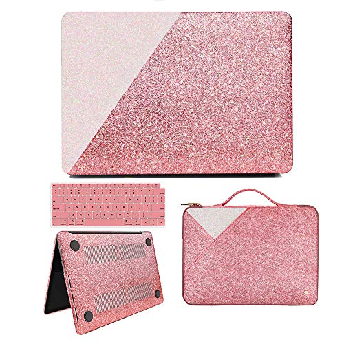 MacBook Air 13 Inch Case 2018 Release A1932, Anban Glitter Bling Smooth Protective Case & Glitter Laptop Sleeve & Keyboard Cover Compatible for MacBook Air 13 Inch with Touch ID (Bling Skin Case Cover)