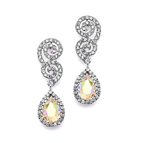 - Mariell Crystal Prom, Bridesmaid, Homecoming Earrings with AB Aurora Borealis Pear-Shaped Teardrops
