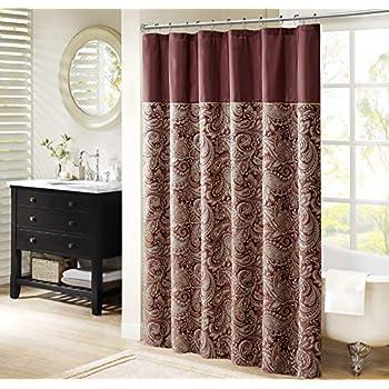 Aubrey Design Stripe Top Modern Shower Curtain, Jacquard Traditional Shower  Curtains For Bathroom, 72 X 72, Burgundy