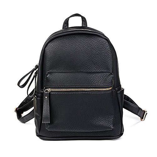 Black Leather Backpack - Women Backpack Purse PU Leather Simple Design Casual Daypack Fashion School Backpack for Girls Black