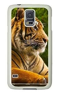 Samsung Galaxy S5 Case and Cover - Ferocious Animal Tiger PC Hard Case Cover for Samsung Galaxy S5 White