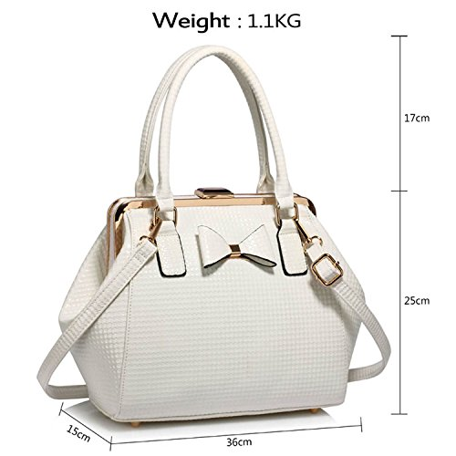 Ladies Patent Shoulder Leather London Twin Large with Tote Faux Design Strap Adjustable Body Style Handles 2 Handbag Cross Bow Bag Women Xardi White wnxECzqw