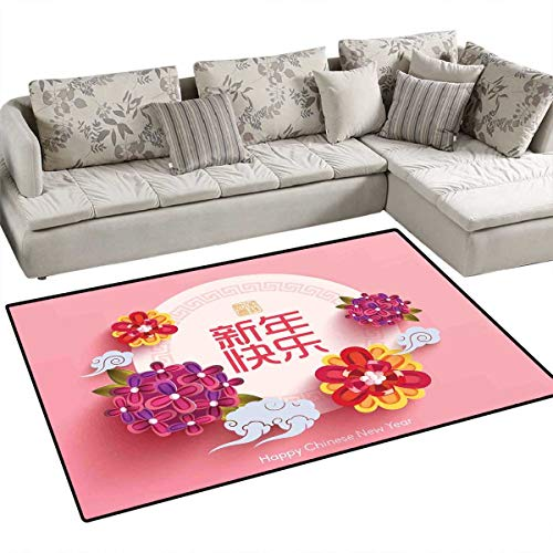 Chinese New Year Kids Carpet Playmat Rug Pale Pink Circle with Lively Flower Bouquets Prosperous Year Celebration Door Mats for Inside Non Slip Backing 4'x6' Multicolor