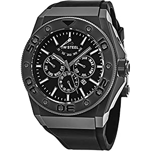 TW Steel CEO Diver Large Stainless Steel Power Reserve Automatic Watch - Black Dial Day Date Month 24-hour TW Steel Watch Mens - Black Rubber Band 48mm Chronograph Dive Watch CE5001