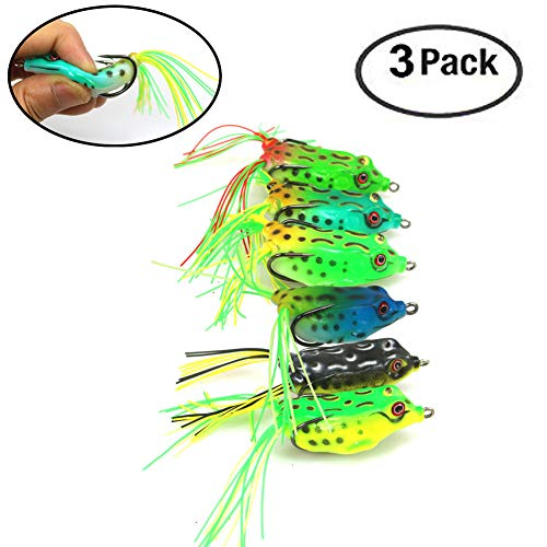 (FC MXBB Frog Lures Soft Fishing Lure with Double Sharp Hooks Soft Bait for Bass Snakehead Salmon Freshwater Saltwater Fishing Large Model(3Pack Random Color)