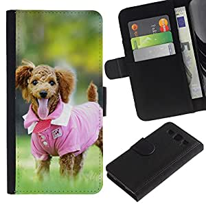 Planetar® Modelo colorido cuero carpeta tirón caso cubierta piel Holster Funda protección Para SAMSUNG Galaxy S3 III / i9300 / i747 ( Cute Pink Shirt Poodle Dog )