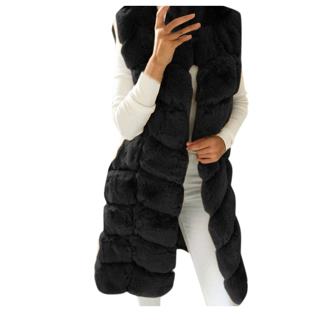 Dainzuy Women's Faux Fox Fur Vest Long Sleeveless Fur Jacket Winter Warmer Gilet Long Waistcoat Coat Outwear Black by Dainzuy Womens Outerwear