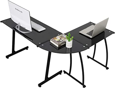 Black Glass Computer Desk Laptop PC Table Workstation Metal Legs Home Office
