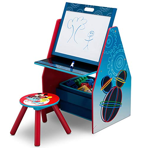 Delta Children Kids Easel and Play Station - Ideal for Arts & Crafts, Drawing, Homeschooling and More, Disney Mickey Mouse