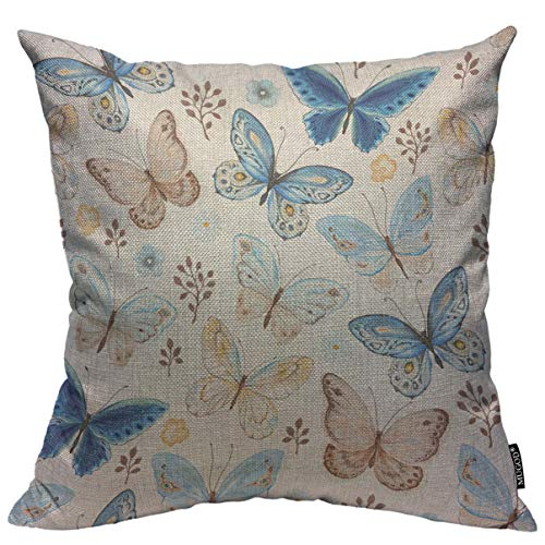 Mugod Colorful Butterfly Throw Pillow Cover Blue Yellow and Brown Flying Butterflies Seamless Pattern Decorative Square Pillow Case for Home Bedroom Living Room Cushion Cover 18x18 Inch