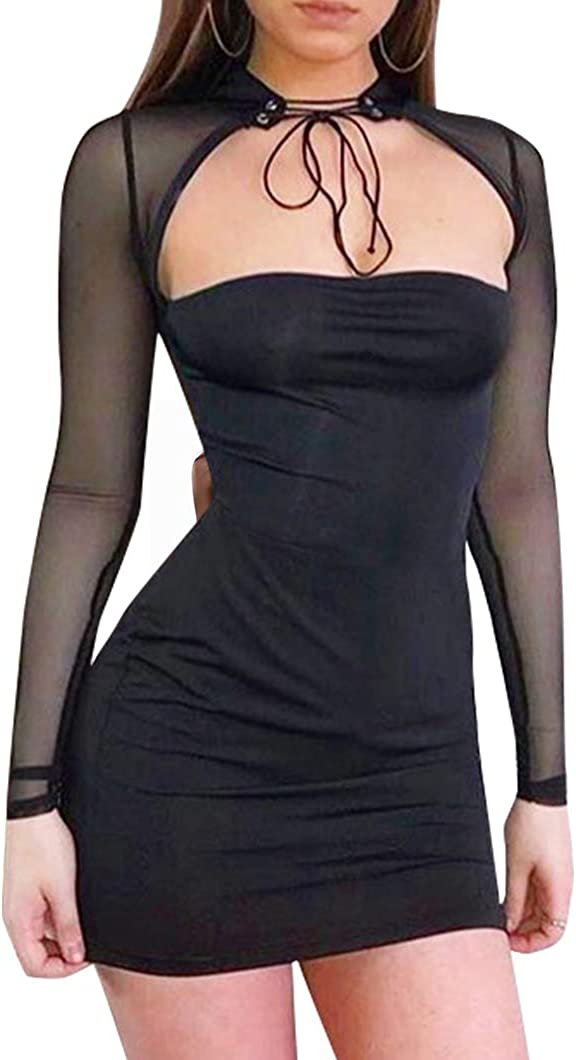 FORSHE Women Sexy Choker Bandage Strapless Long Sleeve Sheer Mesh Rave Bodysuit Party Clubwear