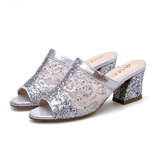 Shoes Inspired Heel Womens Leopard (Zarbrina Womens Chunky Mid Heels Sandals Ladies Sequins Mesh Open Toe Breathable Cute Soft Slides Shoes Silver)