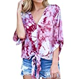 Gyoume Women Blouse Tops 3/4 Flare Sleeve Blouse V-Neck T-Shirts Bandage Loose Top Blouse (S, HOt Pink)