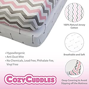 Premium Fitted Baby Crib Sheets Set Boy and Girl   100% Natural Jersey Cotton – Fitted Crib Sheet for Standard Crib Bed Mattress [52″ x 28″ x 9″] – Great Baby Shower Gifts (2 Pack) (Pink)