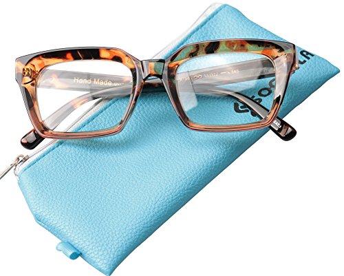Leopard Frame - SOOLALA Retro Desinger 50mm Large Lens Square Reading Glass Big Eyeglass Frame, Leopard, +1.0
