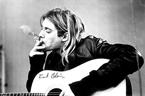 Kurt Cobain (Smoking) With Guitar Black & White Music Poster 36 x 24in ()