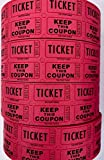 Ticket Guru-Raffle Tickets - (4 Rolls of 2000 Double Tickets) 8,000 Total 50/50 Raffle Tickets {Choose color combo below} ((4) RED rolls)