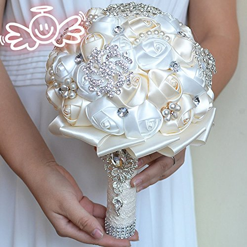 Lavendel Best Price Wedding Bouquet Pearl Crystal Brooch Colorful Bridal Bouquet (Ivory+White)