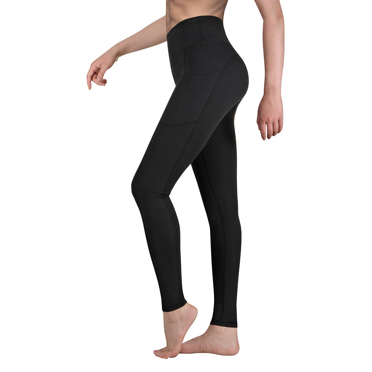 Occffy High Waist Yoga Pants for Women with Pockets Tummy Control Leggings Workout Running Tights DS166 (Black, X-Large)