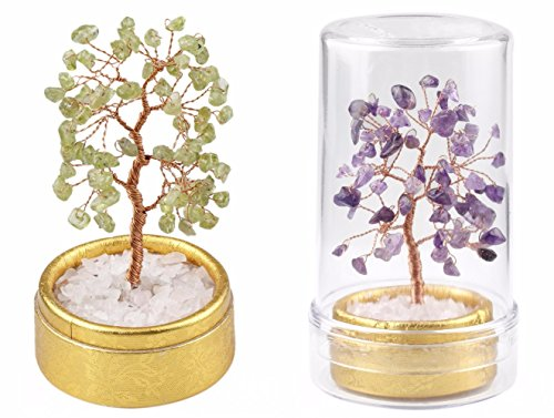 rockcloud Feng Shui Natural Crystal Mini Money Tree in Box Decoration for Wealth and Luck Amethyst+Peridot(Pack of 2)