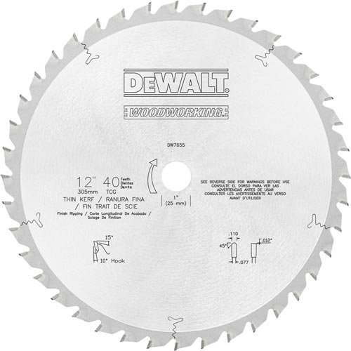 (DEWALT DW7655 12-Inch 40 Tooth TCG Finish Ripping Saw Blade with 1-Inch Arbor)