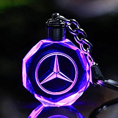 (Mercedes) Keychain with Logo on Crystal and LED Light - FOB Key Ring holder Chain Valet - For Men and Women as automotive gift and accessories - ...
