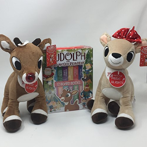 Rudolph The Red Nosed Reindeer and Clarice Music and Lights (plays Rudolph The Red Nose Reindeer) Plush Toys with 12 Board Book -