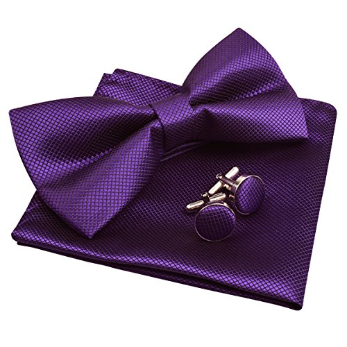 Mens Solid Formal Banded Pre-tied Bow Ties Set-Dark Purple (Purple Channel Set)
