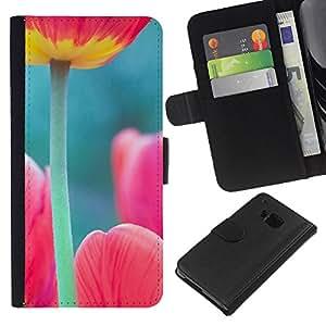 RenCase/funda tipo libro de vista Funda de piel sintética con tarjetero para HTC One M7 - verde rosa diseño de primavera