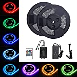 Tingkam 65.6 ft 20 M Waterproof 5050 SMD RGB LED Flexible Strip Light Black PCB Board Color Changing Decoration Lighting 150 LEDs Kit + 20 Key Remote Controller+ 6 A US Power Adapter
