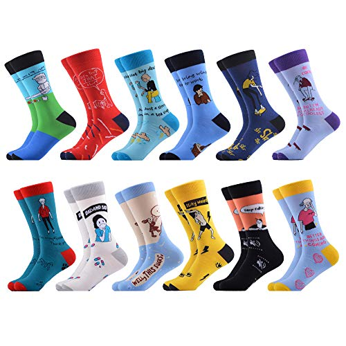 WeciBor Men's Dress Cool Colorful Fancy Novelty Funny Casual Combed Cotton Crew Socks Pack (066-17)
