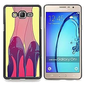 Eason Shop / Premium SLIM PC / Aliminium Casa Carcasa Funda Case Bandera Cover - Heels Black Red Shoes Painting - For Samsung Galaxy On7 O7