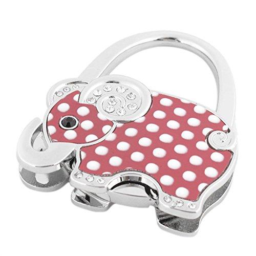 TOOGOO(R) White Dots Print Elephant Decor Foldable Purse Handbag Hook Decoration for Lady